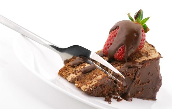 Picture chocolate, strawberry, cake, plug, cream, dessert, piece, sweet, delicious