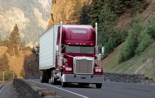 Picture road, forest, trees, mountains, truck, Classic, the front, track, tractor, Freightliner, Trak, classic, Flatliner