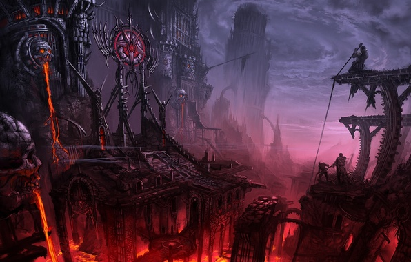 Picture the city, people, lava, tower, abyss, gloom