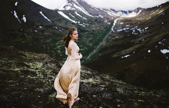 Picture girl, snow, mountains, view, dress