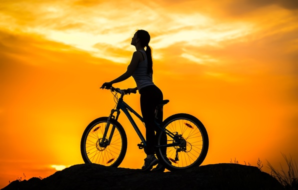 Photo wallpaper the sky, girl, sunset, bike, sport, silhouette, bike, twilight, bike, mountain