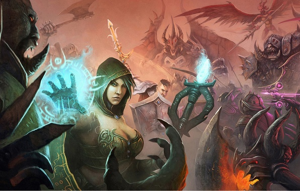 Picture girl, weapons, magic, art, monsters, staff, battle