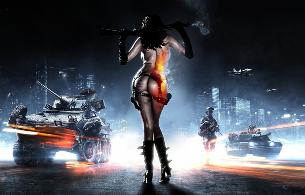 Picture girl, weapons, war, army, technique, soldiers, battlefield, battlefield 3