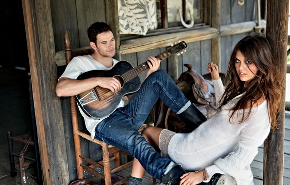 Picture girl, house, Wallpaper, model, guitar, brunette, wallpaper, hut, guy, saddle, plays, kellan lutz