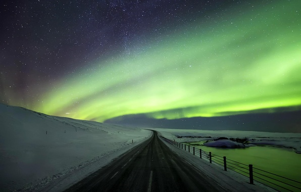 Picture winter, road, the sky, stars, snow, night, nature, Northern lights, Iceland