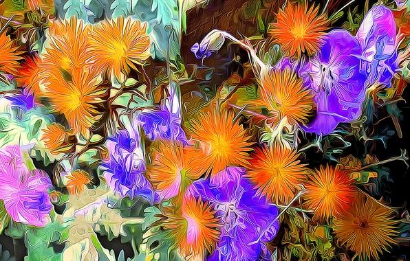 Picture line, flowers, paint, petals, strokes, flowerbed