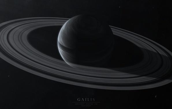 Picture space, space, dark, planet, ring, stars, Gailis