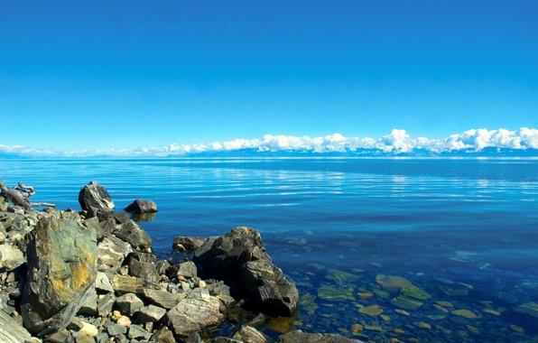 Picture the sky, clouds, lake, stones, shore, horizon, Baikal, Russia, Baikal