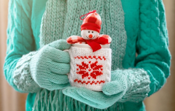 Picture winter, hands, mug, snowman, winter, mittens, cup, cocoa, drink, hands