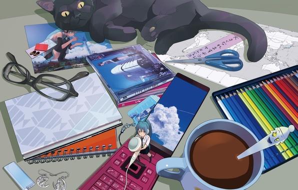 Picture cat, cat, table, map, pencils, headphones, glasses, mug, phone, vocaloid, hatsune miku, cell phone