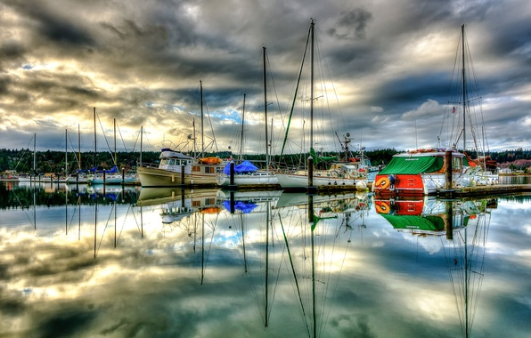 Picture sea, the sky, clouds, clouds, reflection, boat, Marina, Bay, yacht, pier, Bay, Parking, mast, USA, …