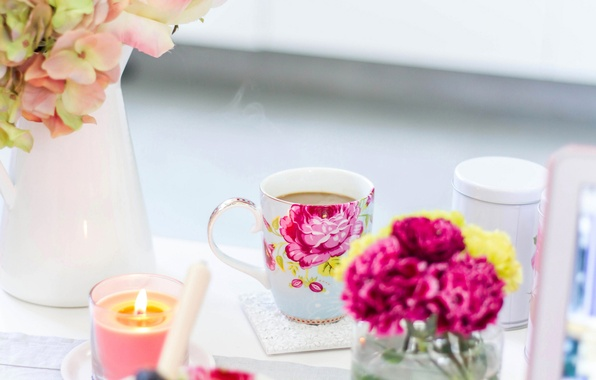 Picture flowers, figure, coffee, roses, candles, Breakfast, Cup, vase