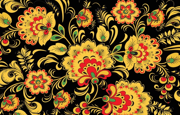 Picture leaves, flowers, yellow, berries, background, patterns, pattern, Russia, Khokhloma