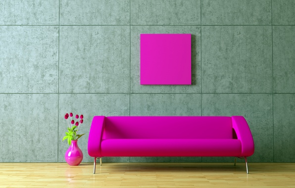 Picture flowers, style, creative, wall, pink, wall, art, sofas, pink, seat, disarr, seat