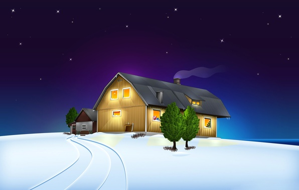 Picture winter, the sky, stars, snow, landscape, night, house, Christmas
