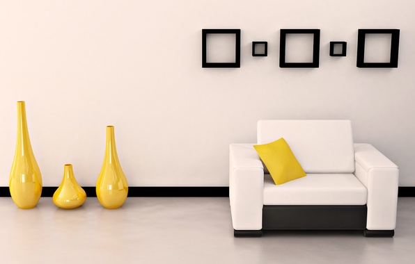 Picture white, yellow, bright, design, style, room, sofa, black, interior, pillow, form, apartment, vases, frame
