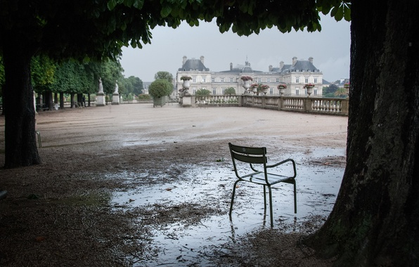 Picture trees, puddle, chair, after the rain, Luxembourg, terrace