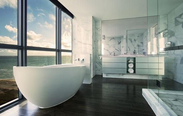 Picture sea, interior, window, bath, bathroom, shower