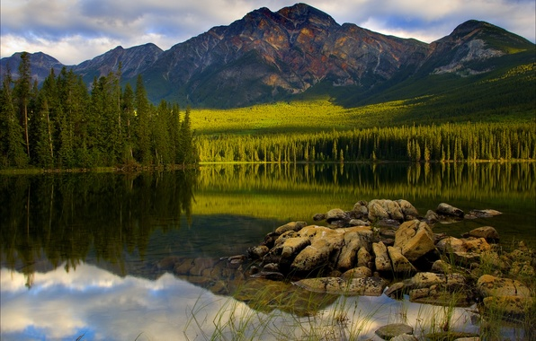 Picture forest, the sky, clouds, trees, sunset, mountains, lake, reflection, stones, spruce, Canada, Jasper National Park