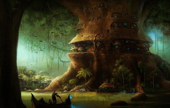 Photo wallpaper Tree, Boat, river, Darkness