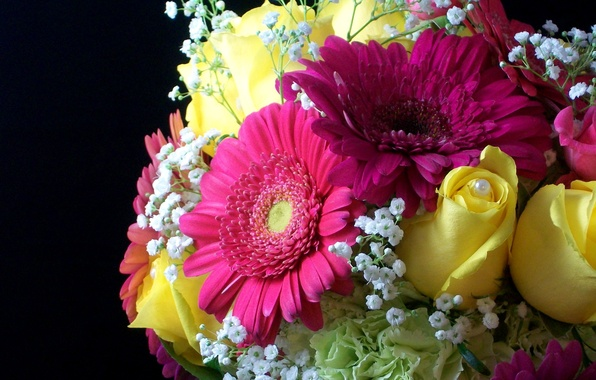 Picture flower, flowers, roses, bouquet, yellow, pearl, gerbera, beautiful, yellow, pearl