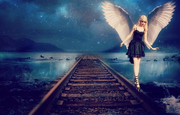 Picture the sky, girl, stars, rails, wings, angel, dress, black