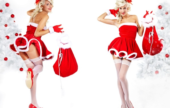 Picture girl, tree, new year, Christmas, stockings, blonde, costume, gifts, in red, merry christmas