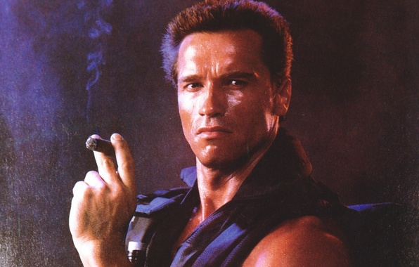 Picture man, actor, cigar, Commando, Arnold Schwarzenegger, Arnold Schwarzenegger, John Matrix, Commando