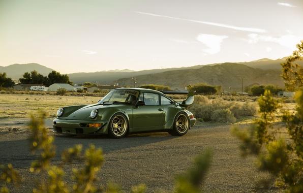 Picture car, green, tuning, carrera, porsche 911, rauh-welt