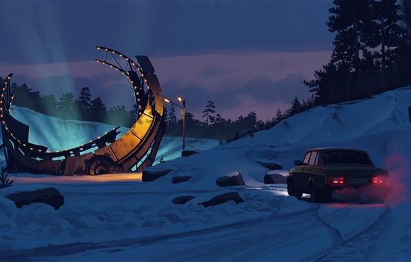 Picture forest, light, snow, night, stones, fiction, art, artist, lantern, car, structure, Simon Stålenhag, Simon Stelenhag, …