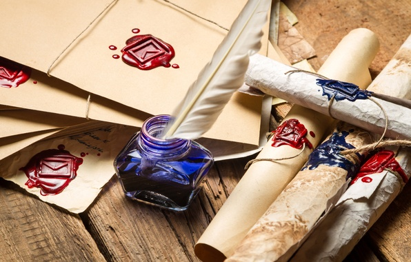 Picture pen, ink, parchment, print, scrolls, letters, wax