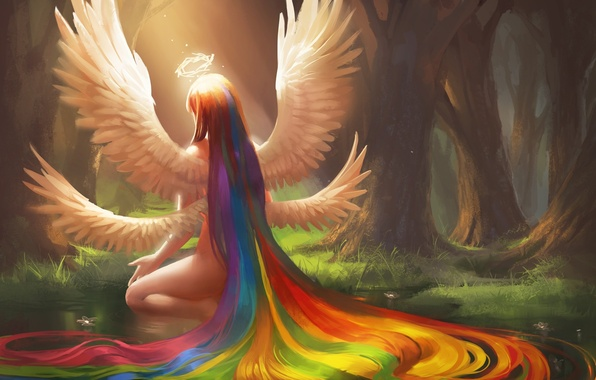 Picture forest, water, girl, flowers, pond, hair, wings, rainbow, angel, art, halo, back, sitting, sakimichan