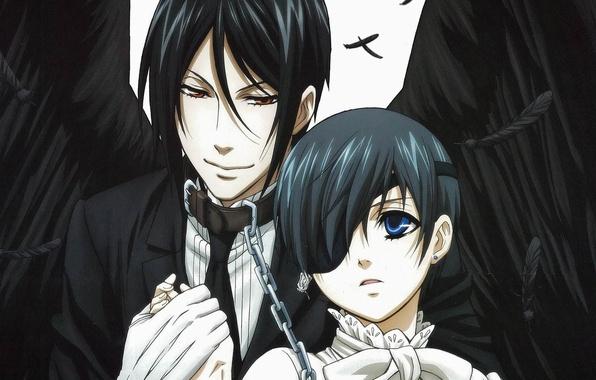 Wallpaper Anime Art Dark Butler Ciel Phantomhive Sebastian Michaelis Black Images For Desktop Section