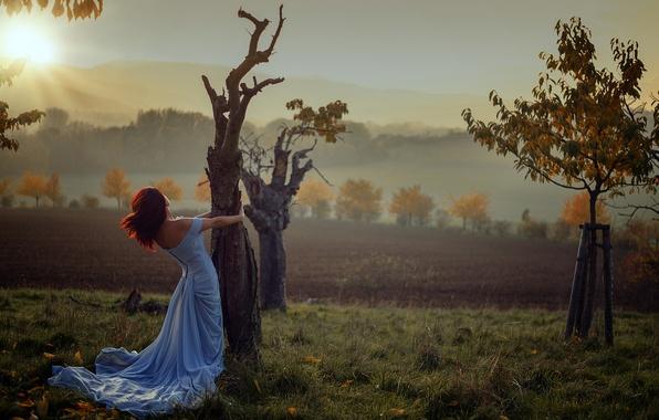 Picture autumn, girl, the sun, trees, sunrise, Miss Froggi, lovely colors