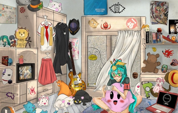Picture girl, guitar, anime, art, laptop, vocaloid, hatsune miku, happy, death note, naruto, soul eater, bleach, …