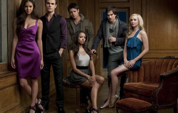 Picture The vampire diaries, Stefan, Elena, Damon