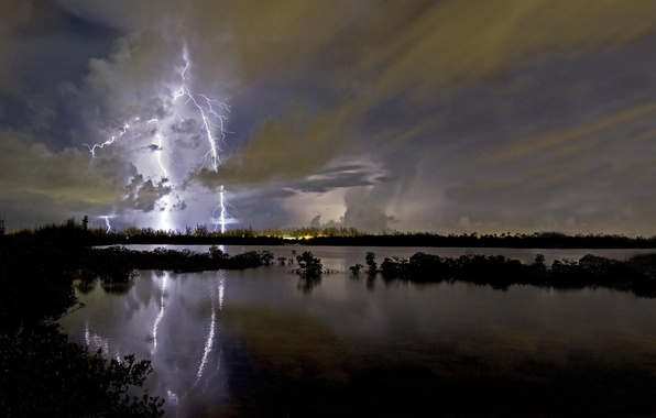 Picture HORIZON, The SKY, CLOUDS, NIGHT, RAIN, POND, CLOUDS, CATEGORY, LIGHTNING, DAL, LAKE, The STORM
