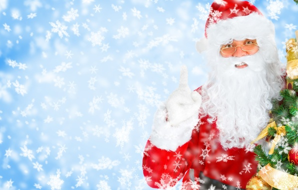 Picture snowflakes, tree, Christmas, New year, Santa Claus, Santa Claus, New Year, smiling Santa, Christmas Tree