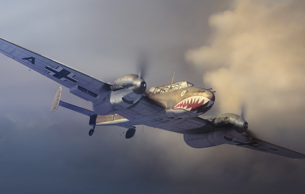 Picture flight, retro, the plane, figure, art, mouth, grin, in the sky, Bf 110, The Messerschmitt