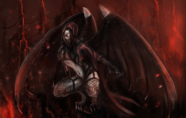 Picture look, height, wings, art, claws, Mortal Kombat, vampire, Nitara