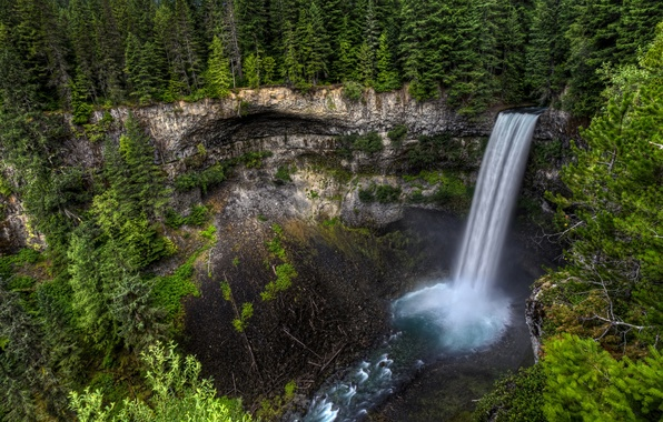 Picture forest, trees, rock, waterfall, stream, Canada, Canada, Brandywine Falls