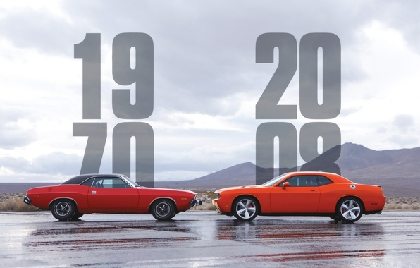 Picture the sky, 2008, Dodge, Challenger, 1970, old vs new