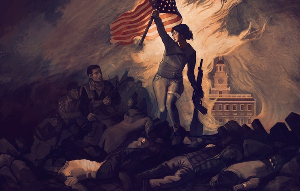 Picture death, people, fire, war, flag, art, machine, revolution, Homefront: The Revolution