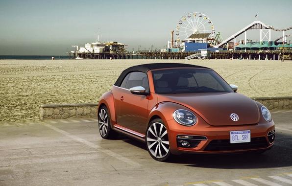 Picture sand, Concept, beach, beetle, Volkswagen, day, the concept, convertible, Volkswagen, Beetle, Cabriolet, 2015, Wave