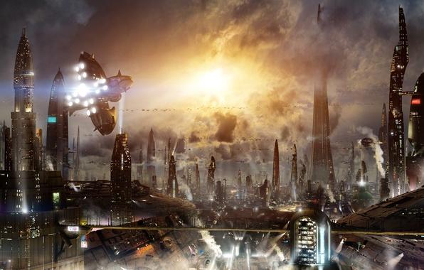 Picture machine, the city, lights, future, fiction, building, skyscrapers, megapolis, science fiction, sci-fi, Scott Richard, aircraft, …