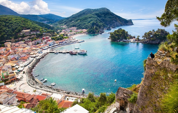 Picture sea, mountains, rock, coast, people, home, Bay, yachts, boats, Greece, pier, panorama, Sunny, the view ...