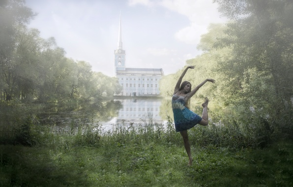 Picture girl, nature, pond, Park, mood, dance