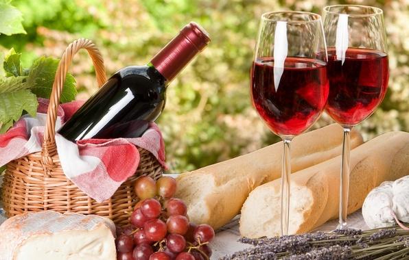 Picture wine, cheese, glasses, bread, grapes, picnic, France