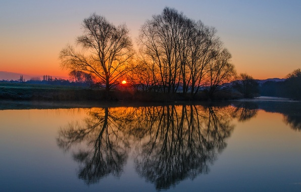 Picture the sky, water, the sun, trees, sunset, surface, reflection, river, glade, England, the evening, UK
