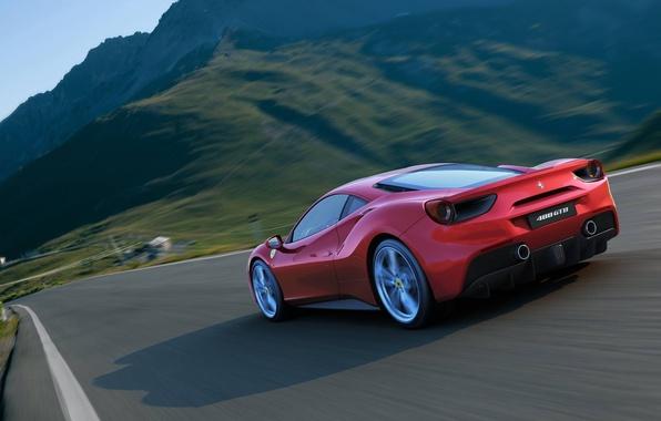 Picture Mountains, Shadow, Ferrari, GTB, Back, 488